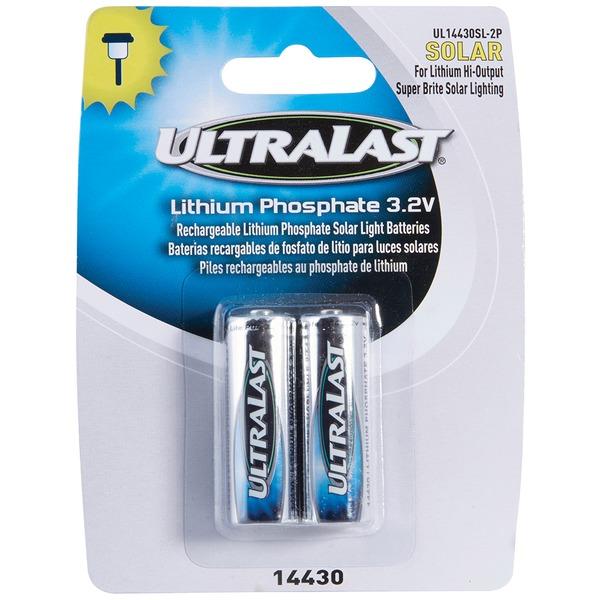 ultralast ul14430sl-2p 14430 lithium batteries for solar lighting, 2 pk