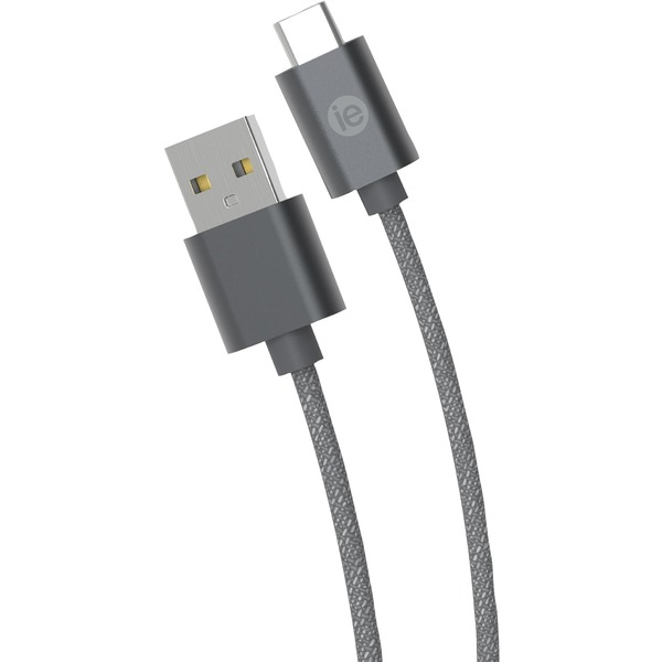 iessentials charge & sync braided usb-c to usb-a cable, 10ft (gray)