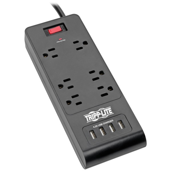 tripp lite protect it! 6-outlet surge protector with 4 usb ports, 6ft cord