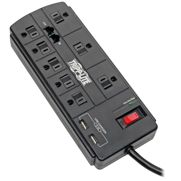 tripp lite protect it! 8-outlet surge protector with 2 usb ports , 8ft cord (telephone and modem)