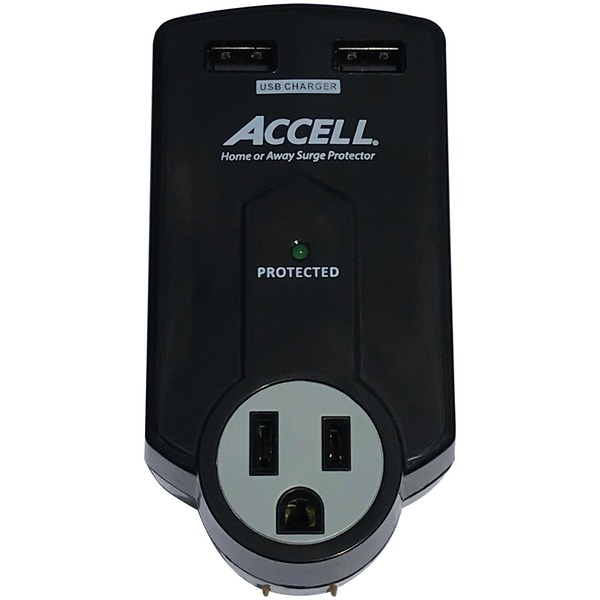 accell home or away power station 3-outlet travel surge protector (black)
