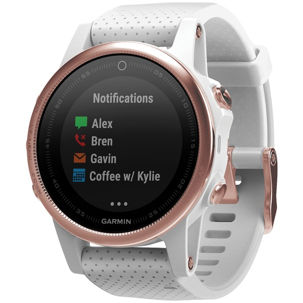 garmin fenix 5s 42mm multisport gps watch sapphire edition (white with rose goldtone; without silicone quickfit 20 band)