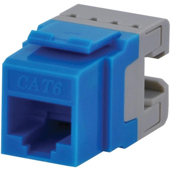 datacomm electronics cat-6 jacks, 10 pack (blue)