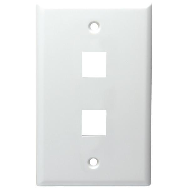 datacomm electronics 2-port standard size keystone wall plate (white)