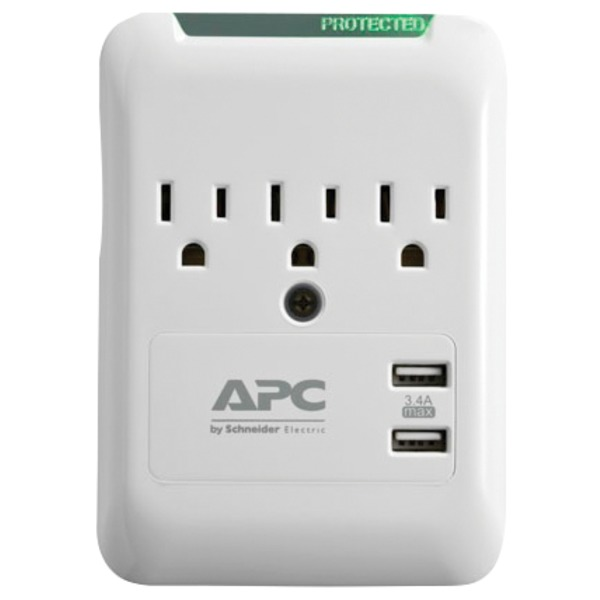 apc essential surgearrest 3-outlet wall tap with 2 usb charging ports