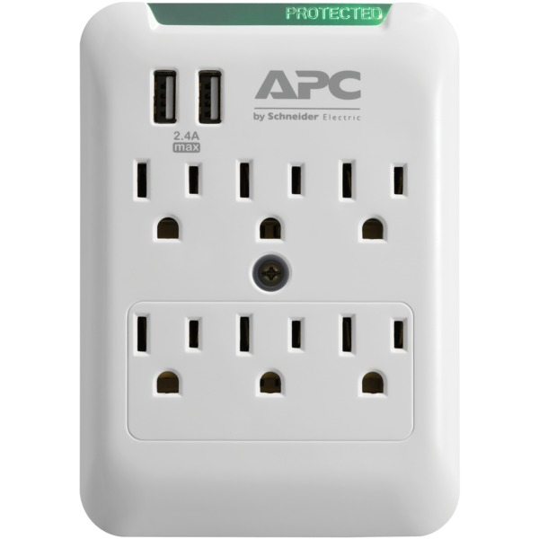 apc essential surgearrest 6-outlet wall tap with 2 usb charging ports