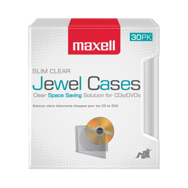 maxell clear jewel cases, 30 pack